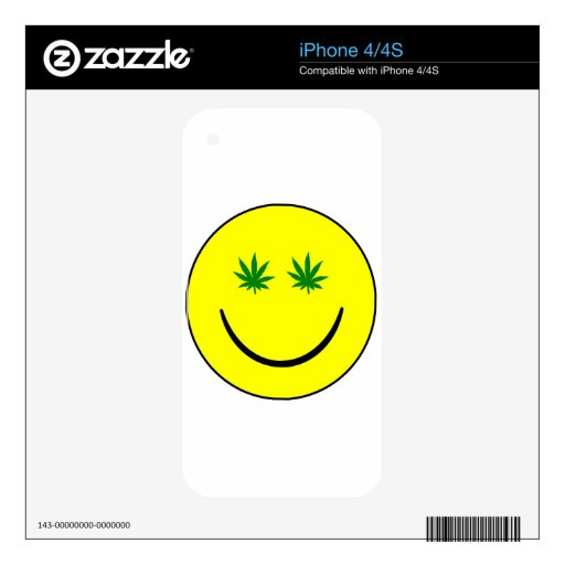Cara sonriente de la mala hierba - 420/hemp/mariju skin para el iPhone 4