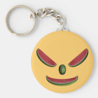 Cara sonriente de la sandía llavero redondo tipo pin