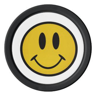 Cara sonriente de oro juego de fichas de póquer