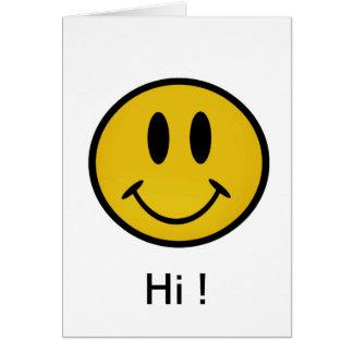 Cara sonriente de oro tarjeta de felicitación