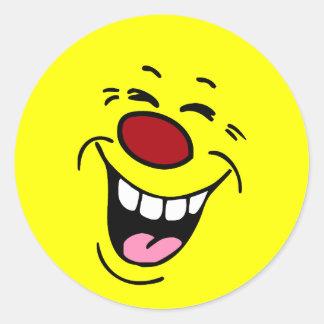 Cara sonriente de risa Grumpey Pegatina Redonda