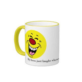Cara sonriente de risa Grumpey Taza De Dos Colores