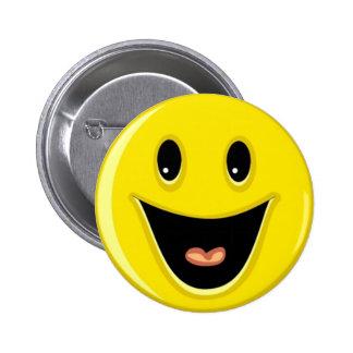 Cara sonriente de risa pin redondo de 2 pulgadas