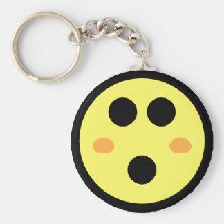 Cara sonriente de ruborización amarilla llavero redondo tipo pin