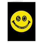 ¡cara sonriente del 50.o cumpleaños, es solamente  tarjetas