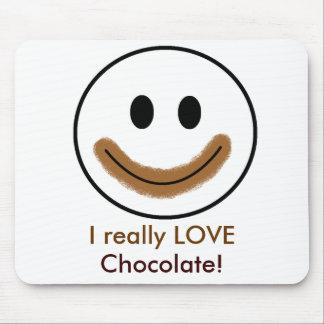 """¡Cara sonriente del chocolate """"AMO realmente el ch Alfombrilla De Ratones"""