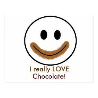 """¡Cara sonriente del chocolate """"AMO realmente el Postal"""