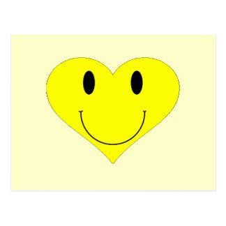 Cara sonriente del corazón tarjeta postal