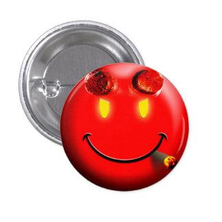 Cara sonriente del diablo rojo - botón pin redondo de 1 pulgada