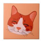 Cara sonriente del gatito azulejos ceramicos