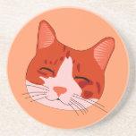 Cara sonriente del gatito posavasos para bebidas