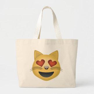 Cara sonriente del gato con los ojos en forma de bolsa tela grande