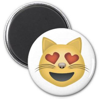 Cara sonriente del gato con los ojos en forma de imán redondo 5 cm