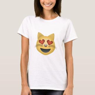 Cara sonriente del gato con los ojos en forma de playera