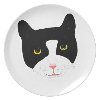 Cara sonriente del gato plato