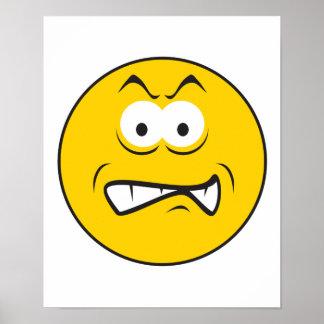 Cara sonriente del gruñido enojado póster