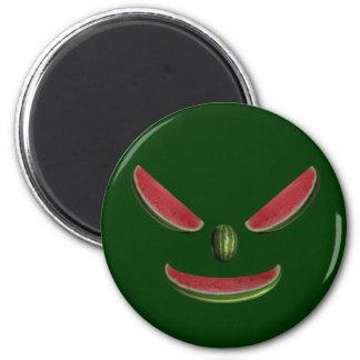 Cara sonriente del melón imán redondo 5 cm