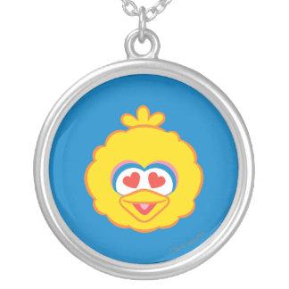 Cara sonriente del pájaro grande con los ojos en colgante redondo