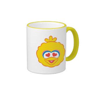 Cara sonriente del pájaro grande con los ojos en taza de dos colores
