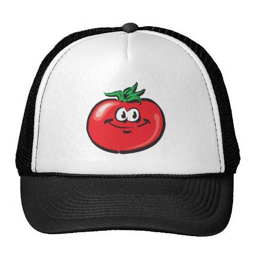 cara sonriente del tomate gorros