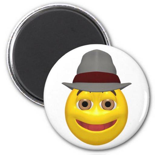 Cara sonriente detective amarilla imán redondo 5 cm