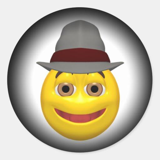 Cara sonriente detective amarilla etiquetas redondas