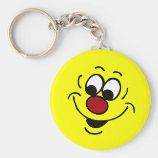 Cara sonriente distraída Grumpey Llavero Redondo Tipo Pin