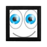 Cara sonriente divertida linda de los ojos azules caja de regalo