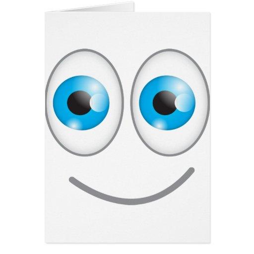 Cara sonriente divertida linda de los ojos azules tarjeta de felicitación