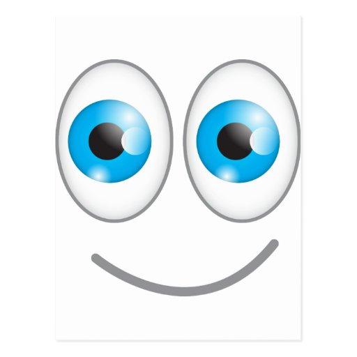 Cara sonriente divertida linda de los ojos azules postal