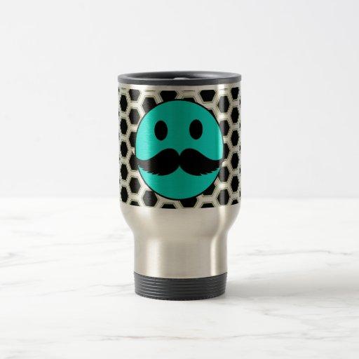 Cara sonriente divertida retra con el bigote Stach Taza De Café