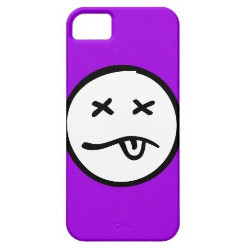 Cara sonriente divertida retra en fondo púrpura iPhone 5 funda