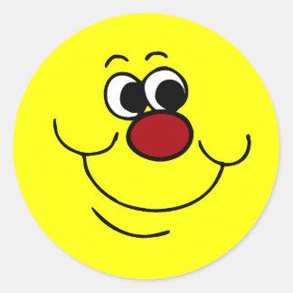 Cara sonriente egoísta Grumpey Pegatina Redonda