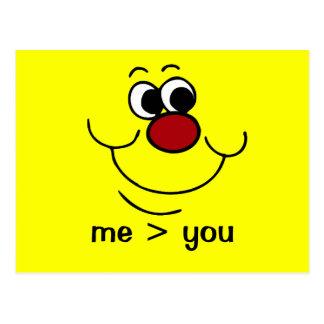 Cara sonriente egoísta Grumpey Postales