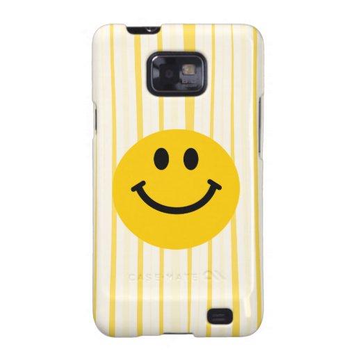 Cara sonriente en rayas amarillas soleadas galaxy SII carcasa