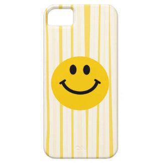 Cara sonriente en rayas amarillas soleadas iPhone 5 fundas