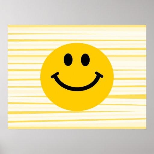 Cara sonriente en rayas amarillas soleadas impresiones