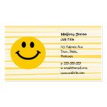 Cara sonriente en rayas amarillas soleadas tarjetas personales