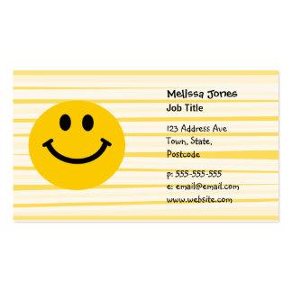Cara sonriente en rayas amarillas soleadas tarjetas de visita