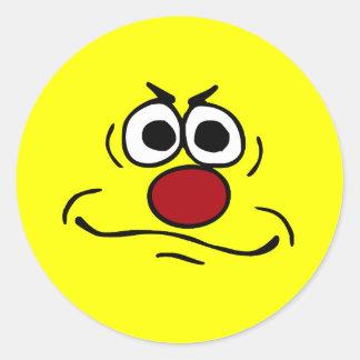 Cara sonriente enfadada Grumpey Pegatina Redonda