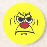 Cara sonriente enojada Grumpey Posavasos Diseño