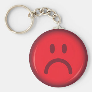 Cara sonriente enojada pouty infeliz roja llavero redondo tipo pin