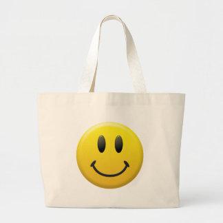 Cara sonriente feliz bolsas