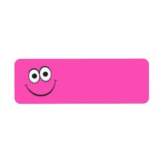 Cara sonriente feliz del smiley del dibujo animado etiquetas de remite