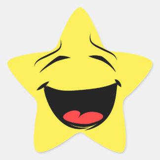 Cara sonriente feliz estupenda Emoji Pegatina En Forma De Estrella