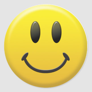 Cara sonriente feliz etiquetas redondas