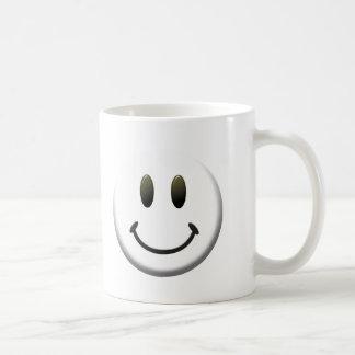 Cara sonriente feliz tazas de café