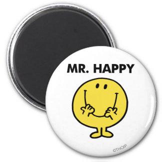 Cara sonriente gigante de Sr. Happy el | Imán Redondo 5 Cm
