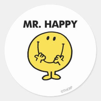 Cara sonriente gigante de Sr. Happy el   Pegatina Redonda