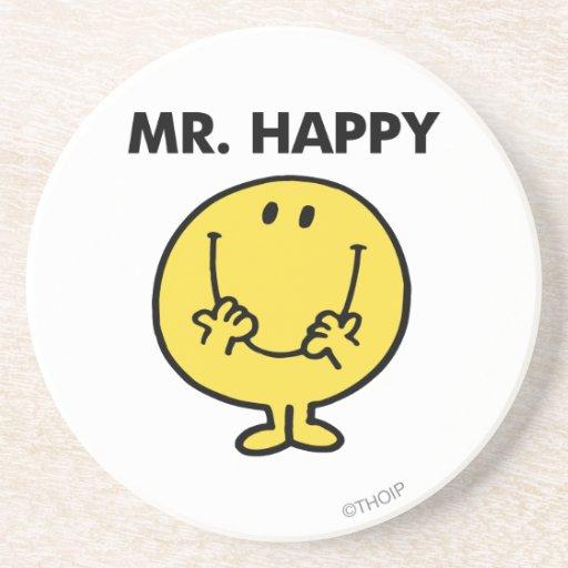 Cara sonriente gigante de Sr. Happy el   Posavaso Para Bebida